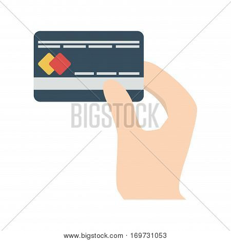 credit card in the hand related icon, vector illustration image