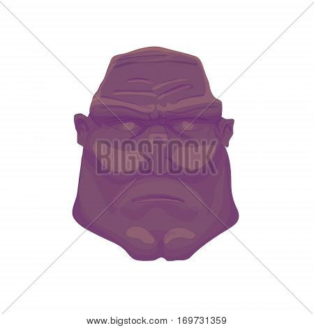Cartoon dark Brutal Man Face. Vector illustration