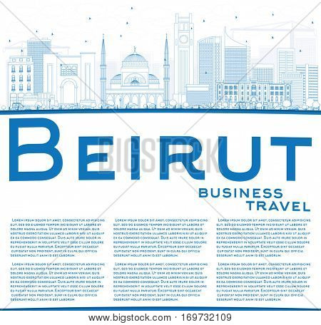 Outline Beirut Skyline with Blue Buildings and Copy Space. Business Travel and Tourism Concept with Modern Architecture. Image for Presentation Banner Placard and Web Site.