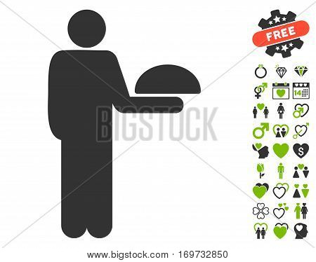 Standing Waiter pictograph with bonus dating images. Vector illustration style is flat iconic eco green and gray symbols on white background.