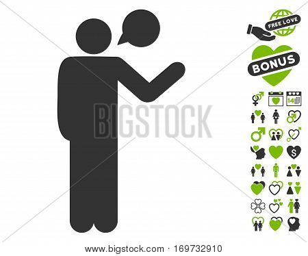 Talking Man icon with bonus valentine pictures. Vector illustration style is flat iconic eco green and gray symbols on white background.