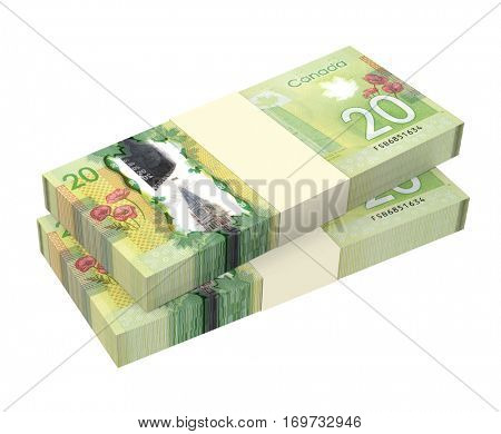 WROCLAW, POLAND - MAY 3: 3D illustration of Canadian banknotes drawn on 3 May 2014 in Wroclaw, Poland. Dollar banknotes are the new polymer bills of Canada.