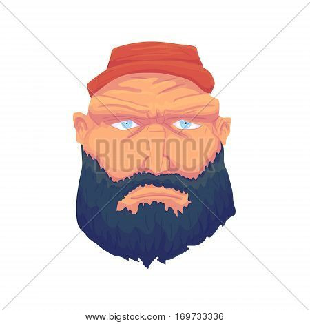 Cartoon Brutal Man Face with Beard and Red Hat. Vector illustration