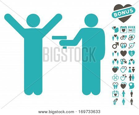 Crime Robbery icon with bonus valentine symbols. Vector illustration style is flat iconic grey and cyan symbols on white background.