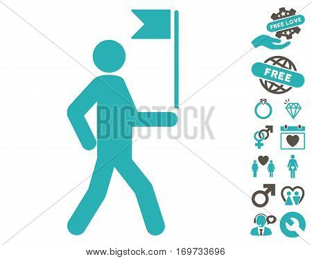 Guide Man With Flag pictograph with bonus love pictograph collection. Vector illustration style is flat iconic grey and cyan symbols on white background.
