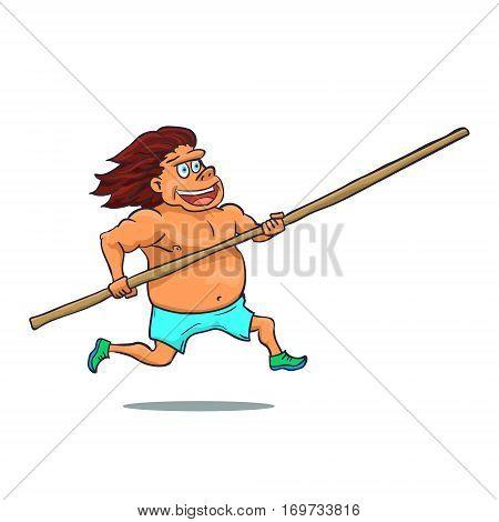 Cartoon running pole vaulter character. Vector illustration