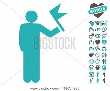 Man With Flag pictograph with bonus dating design elements. Vector illustration style is flat iconic grey and cyan symbols on white background.