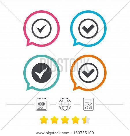 Check icons. Checkbox confirm circle sign symbols. Calendar, internet globe and report linear icons. Star vote ranking. Vector