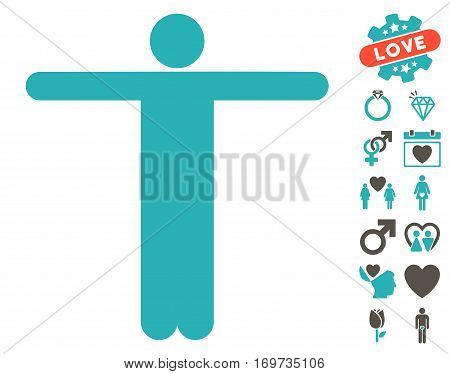 Scarecrow Pose pictograph with bonus dating images. Vector illustration style is flat iconic grey and cyan symbols on white background.