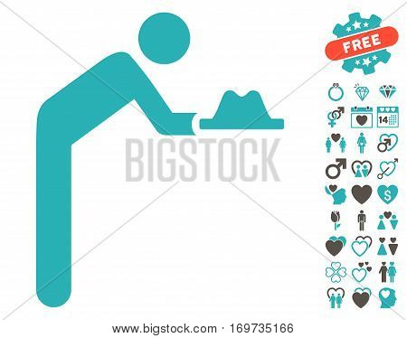Servant With Hat pictograph with bonus lovely pictograms. Vector illustration style is flat iconic grey and cyan symbols on white background.