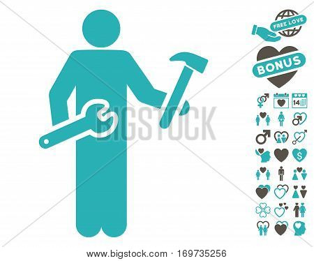 Serviceman icon with bonus valentine pictures. Vector illustration style is flat iconic grey and cyan symbols on white background.