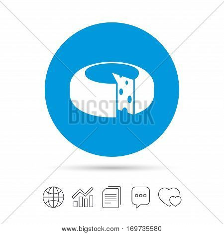 Cheese wheel sign icon. Sliced cheese symbol. Round cheese with holes. Copy files, chat speech bubble and chart web icons. Vector