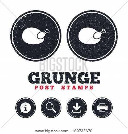 Grunge post stamps. Chicken sign icon. Hen bird meat symbol. Information, download and printer signs. Aged texture web buttons. Vector