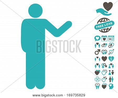 Talking Man pictograph with bonus love pictograms. Vector illustration style is flat iconic grey and cyan symbols on white background.