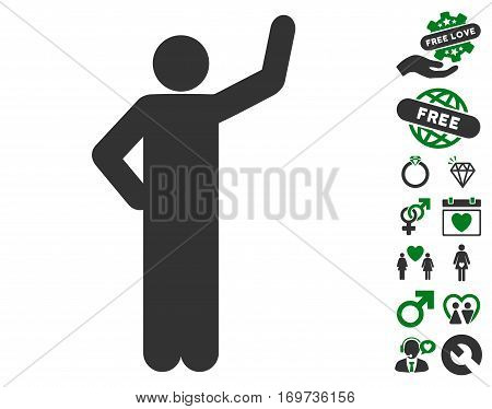 Assurance Pose pictograph with bonus lovely pictograms. Vector illustration style is flat iconic green and gray symbols on white background.
