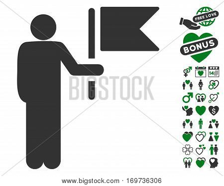 Commander With Flag pictograph with bonus valentine clip art. Vector illustration style is flat iconic green and gray symbols on white background.