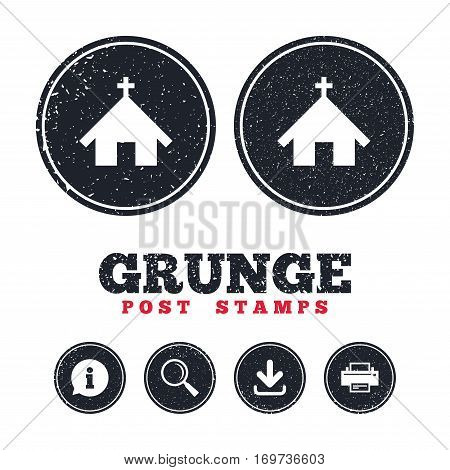 Grunge post stamps. Church icon. Christian religion symbol. Chapel with cross on roof. Information, download and printer signs. Aged texture web buttons. Vector
