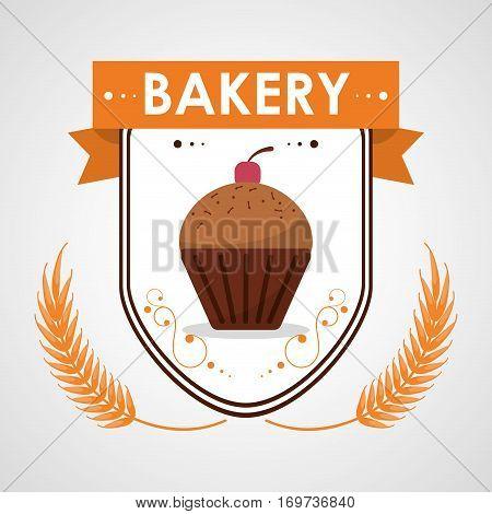cupcake bakery creamy tasty cherry badge vector illustration eps 10