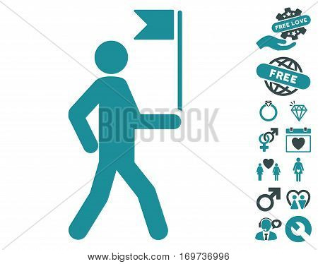 Guide Man With Flag icon with bonus love images. Vector illustration style is flat iconic soft blue symbols on white background.