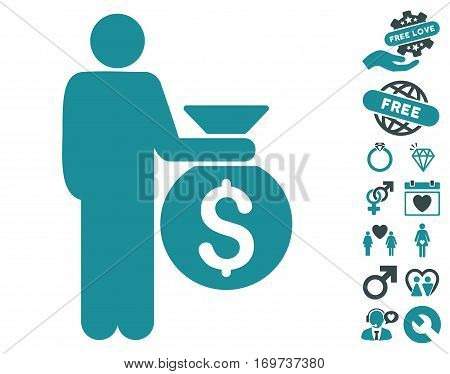 Investor pictograph with bonus love symbols. Vector illustration style is flat iconic soft blue symbols on white background.