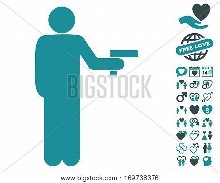 Robber With Gun icon with bonus lovely design elements. Vector illustration style is flat iconic soft blue symbols on white background.