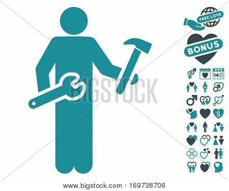 Serviceman pictograph with bonus valentine pictures. Vector illustration style is flat iconic soft blue symbols on white background.