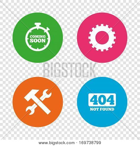 Coming soon icon. Repair service tool and gear symbols. Hammer with wrench signs. 404 Not found. Round buttons on transparent background. Vector