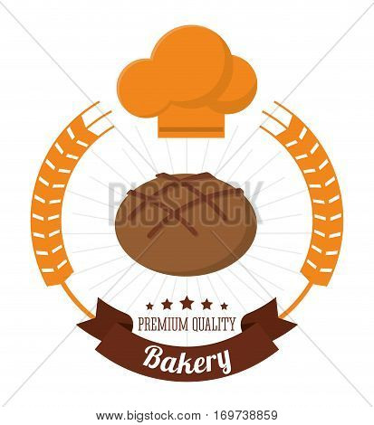 bakery integral bread chef hat premium quality label vector illustration eps 10