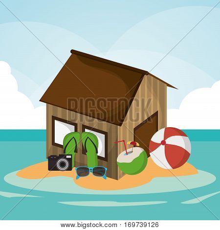 hut beach ball flip flop camera cocktail sunglasses island vector illustration eps 10