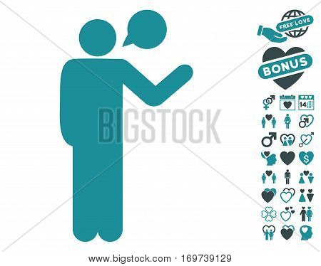 Talking Man pictograph with bonus valentine images. Vector illustration style is flat iconic soft blue symbols on white background.