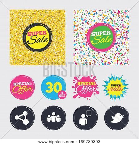 Gold glitter and confetti backgrounds. Covers, posters and flyers design. Group of people and share icons. Speech bubble symbols. Communication signs. Sale banners. Special offer splash. Vector