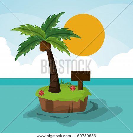 island paradisiac palm sun wooden board vector illustration eps 10