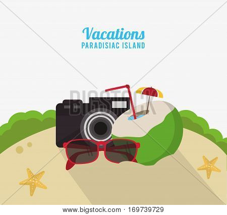 vacations paradisiac island beach coconut cocktail camera and sunglasses vector illustration eps 10