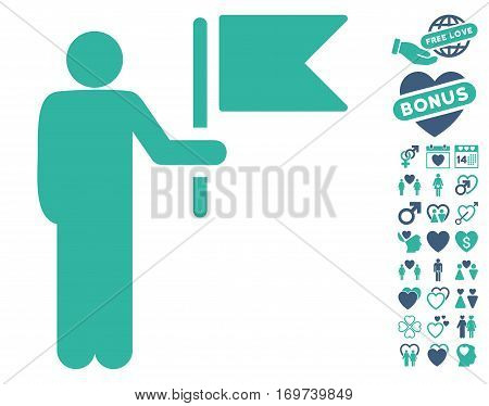 Commander With Flag icon with bonus lovely graphic icons. Vector illustration style is flat iconic cobalt and cyan symbols on white background.