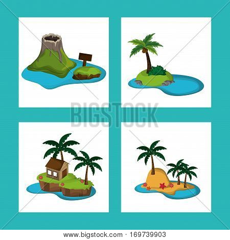 collection paradisiac island tourism relax adventure vector illustration eps 10