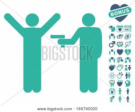 Crime Robbery pictograph with bonus love pictograph collection. Vector illustration style is flat iconic cobalt and cyan symbols on white background.