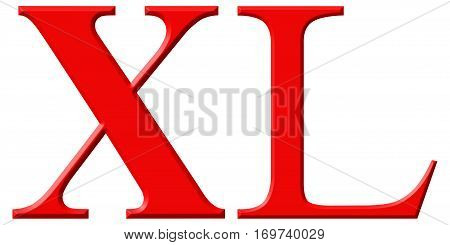 Roman Numeral Xl, Quadraginta, 40, Forty, Isolated On White Background, 3D Render