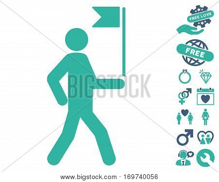 Guide Man With Flag icon with bonus love design elements. Vector illustration style is flat iconic cobalt and cyan symbols on white background.