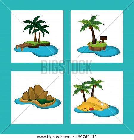 collection paradisiac island natural ocean vector illustration eps 10
