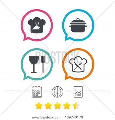 Chief hat and cooking pan icons. Crosswise fork and knife signs. Boil or stew food symbols. Calendar, internet globe and report linear icons. Star vote ranking. Vector
