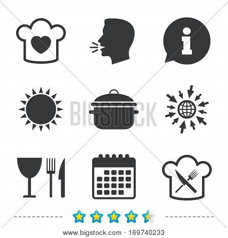 Chief hat with heart and cooking pan icons. Crosswise fork and knife signs. Boil or stew food symbol. Information, go to web and calendar icons. Sun and loud speak symbol. Vector