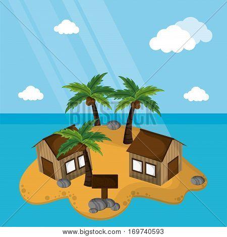 island paradisiac hut palm wooden board sunlight vector illustration