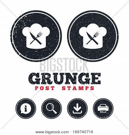 Grunge post stamps. Chef hat sign icon. Cooking symbol. Cooks hat with fork and knife. Information, download and printer signs. Aged texture web buttons. Vector