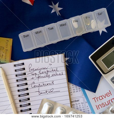 Travel and health insurance calculations in Australia.
