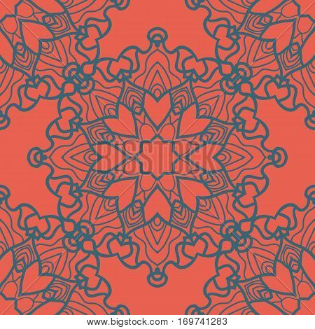 Ottoman fabric design. Print for Colouring. Yoga inspired backgrounds meditation poster.Unusual stylized flower endless backdrop.