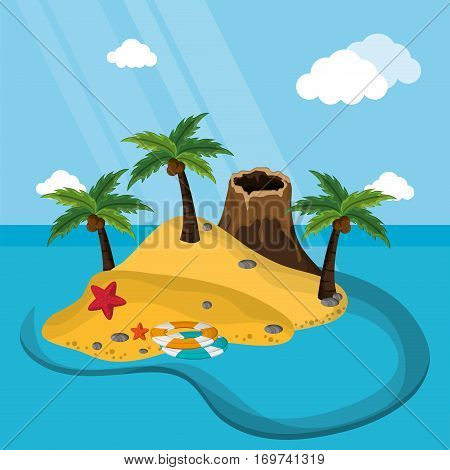 exotic island volcano sand starfish lifebuoy sand palm vector illustration eps 10