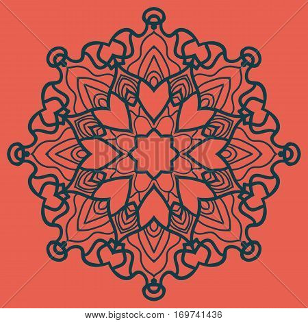 Outlined Print on Red Background. Mandala Flower for Colouring Work Relaxation Adult Zentangle Background. Ornate t-shirt print.