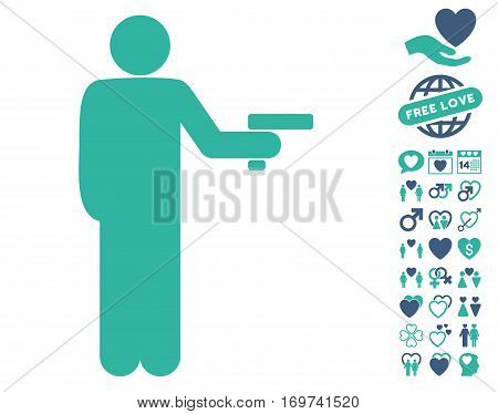 Robber With Gun icon with bonus love clip art. Vector illustration style is flat iconic cobalt and cyan symbols on white background.