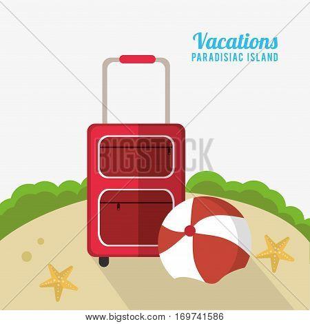 suitcase beach ball starfish sand vacations paradisiac island vector illustration eps 10