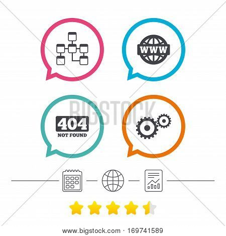 Website database icon. Internet globe and gear signs. 404 page not found symbol. Under construction. Calendar, internet globe and report linear icons. Star vote ranking. Vector